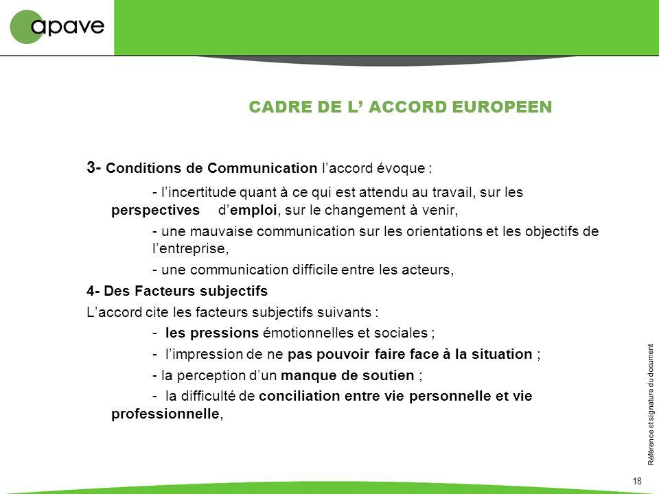 CADRE DE L' ACCORD EUROPEEN