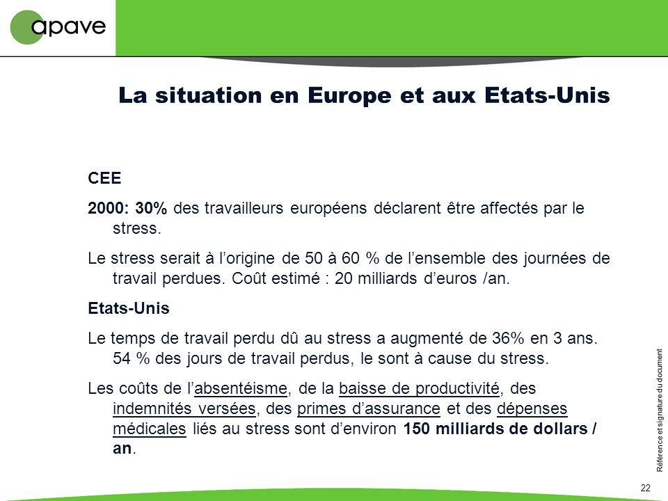La situation en Europe et aux Etats-Unis