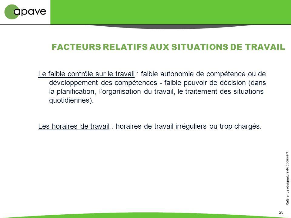 FACTEURS RELATIFS AUX SITUATIONS DE TRAVAIL