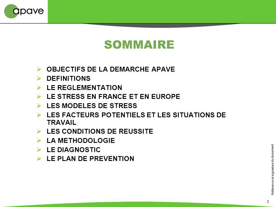 SOMMAIRE OBJECTIFS DE LA DEMARCHE APAVE DEFINITIONS LE REGLEMENTATION