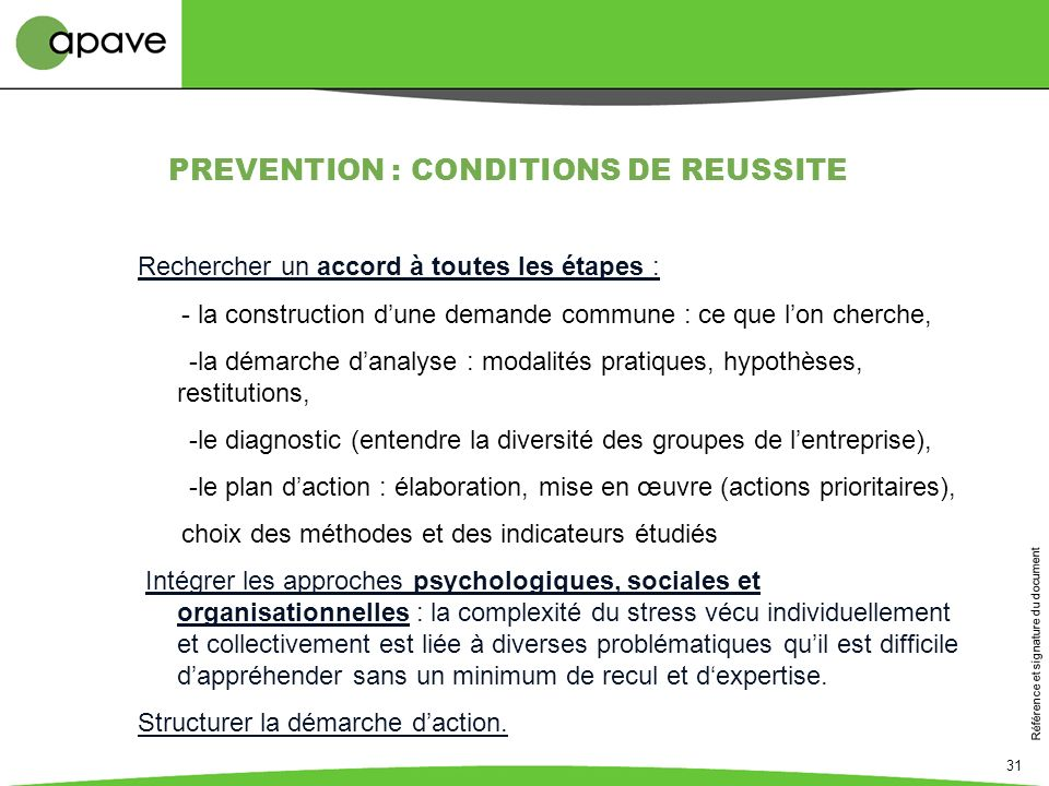 PREVENTION : CONDITIONS DE REUSSITE