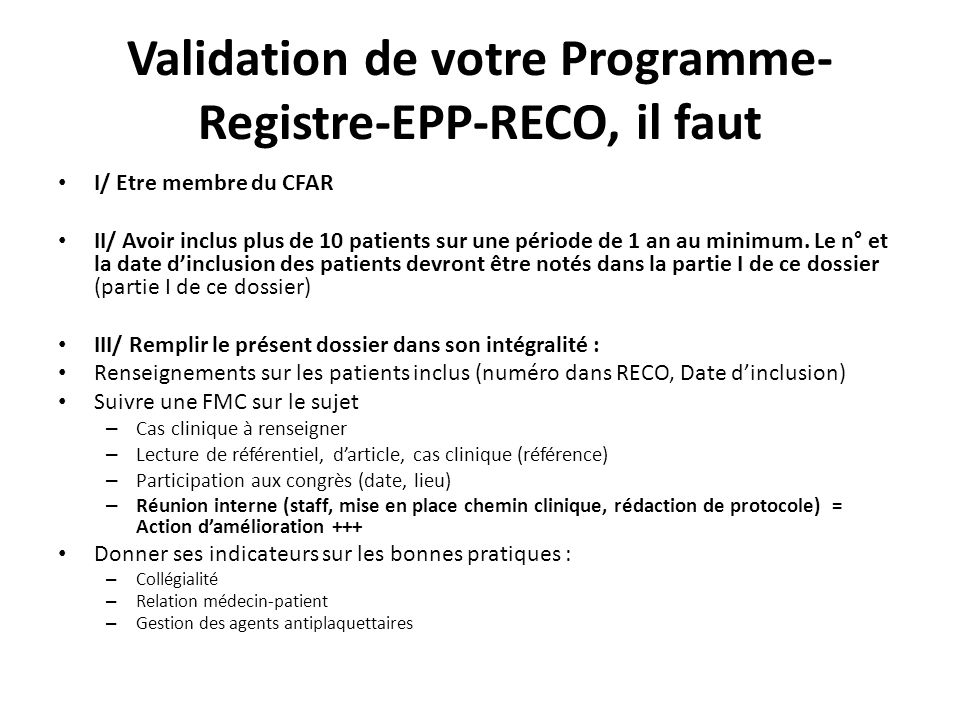 Validation de votre Programme-Registre-EPP-RECO, il faut