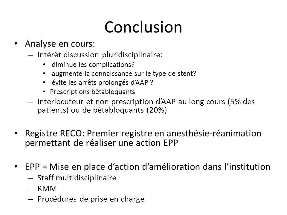 Conclusion Analyse en cours: