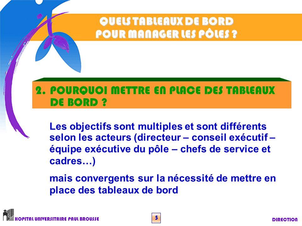 QUELS TABLEAUX DE BORD POUR MANAGER LES PÔLES