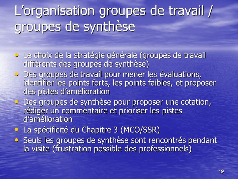 L'organisation groupes de travail / groupes de synthèse