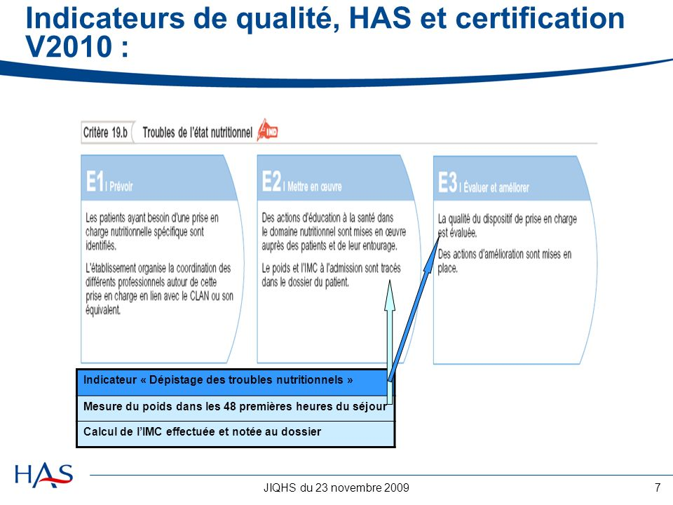 Indicateurs de qualité, HAS et certification V2010 :