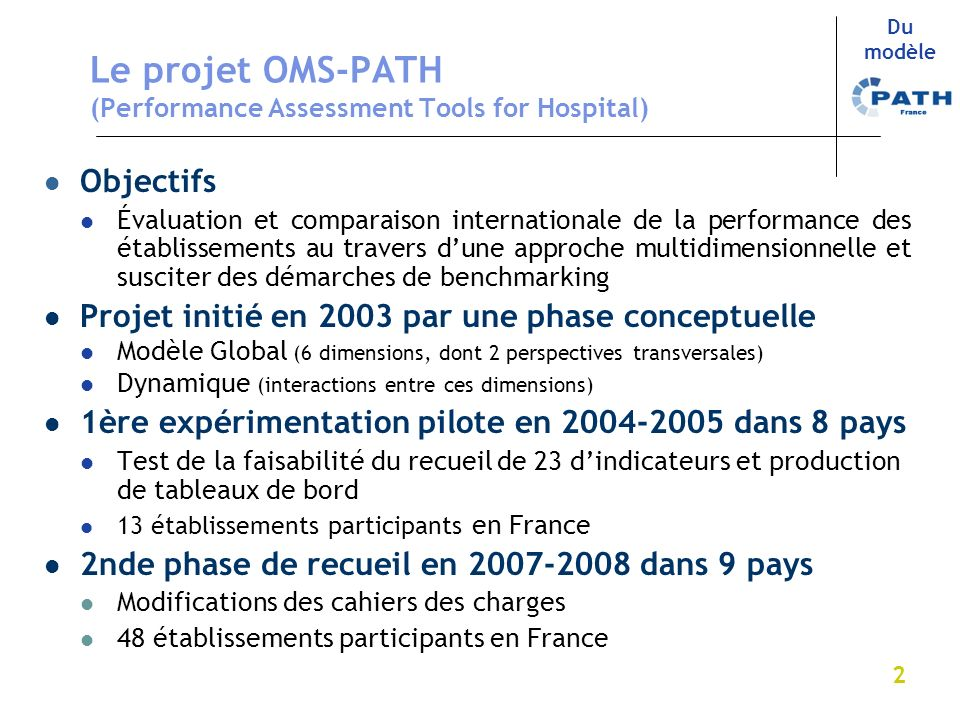 Le projet OMS-PATH (Performance Assessment Tools for Hospital)