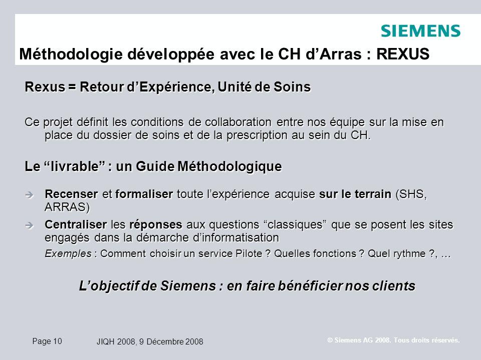 Méthodologie développée avec le CH d'Arras : REXUS
