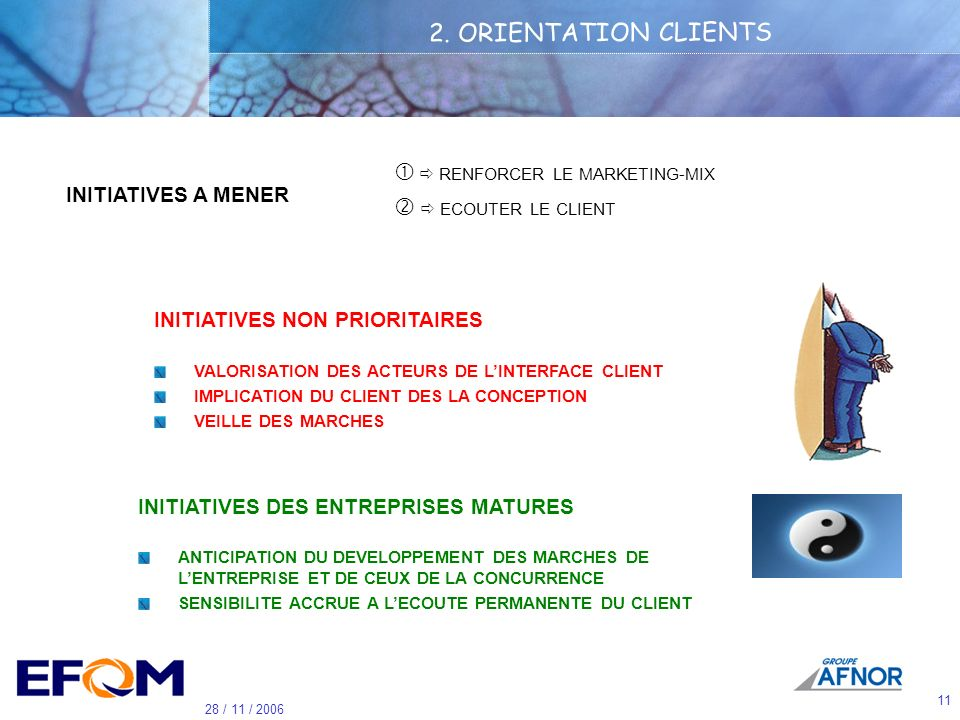 2. ORIENTATION CLIENTS   RENFORCER LE MARKETING-MIX
