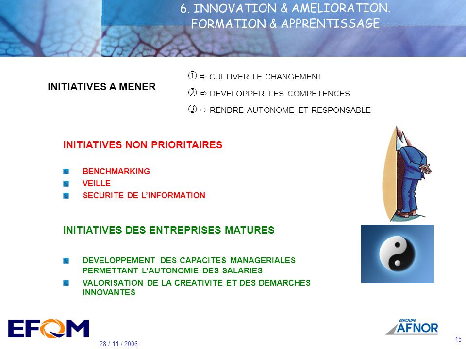 6. INNOVATION & AMELIORATION. FORMATION & APPRENTISSAGE
