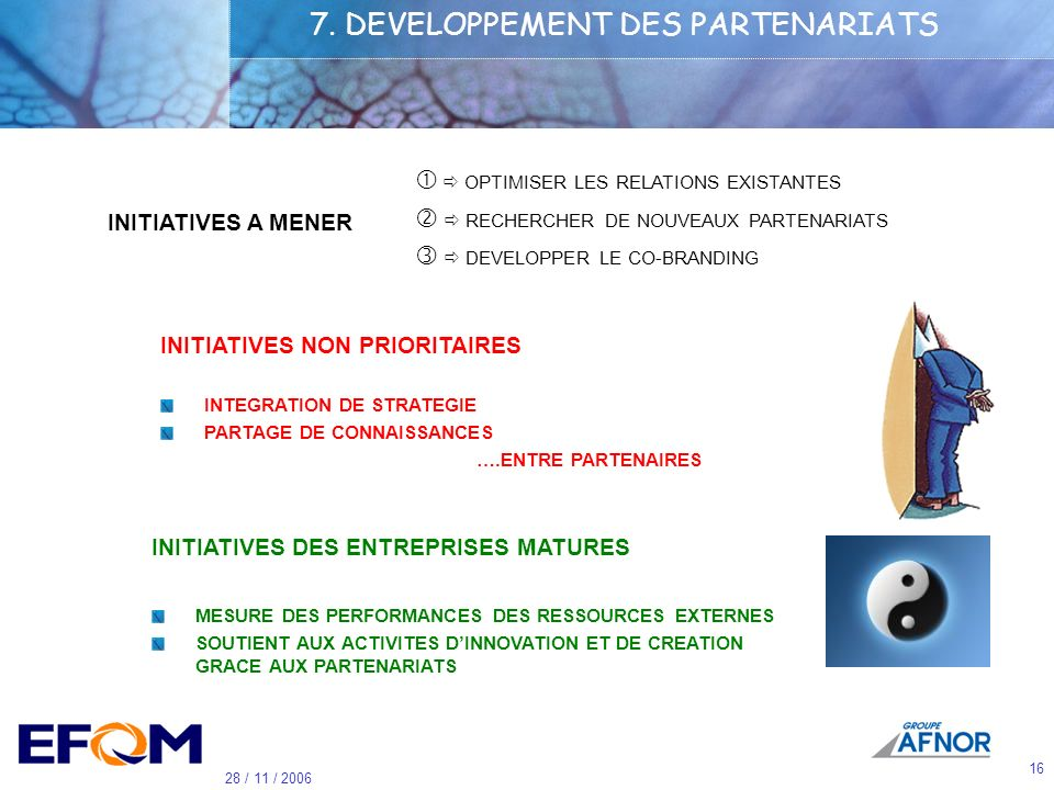 7. DEVELOPPEMENT DES PARTENARIATS