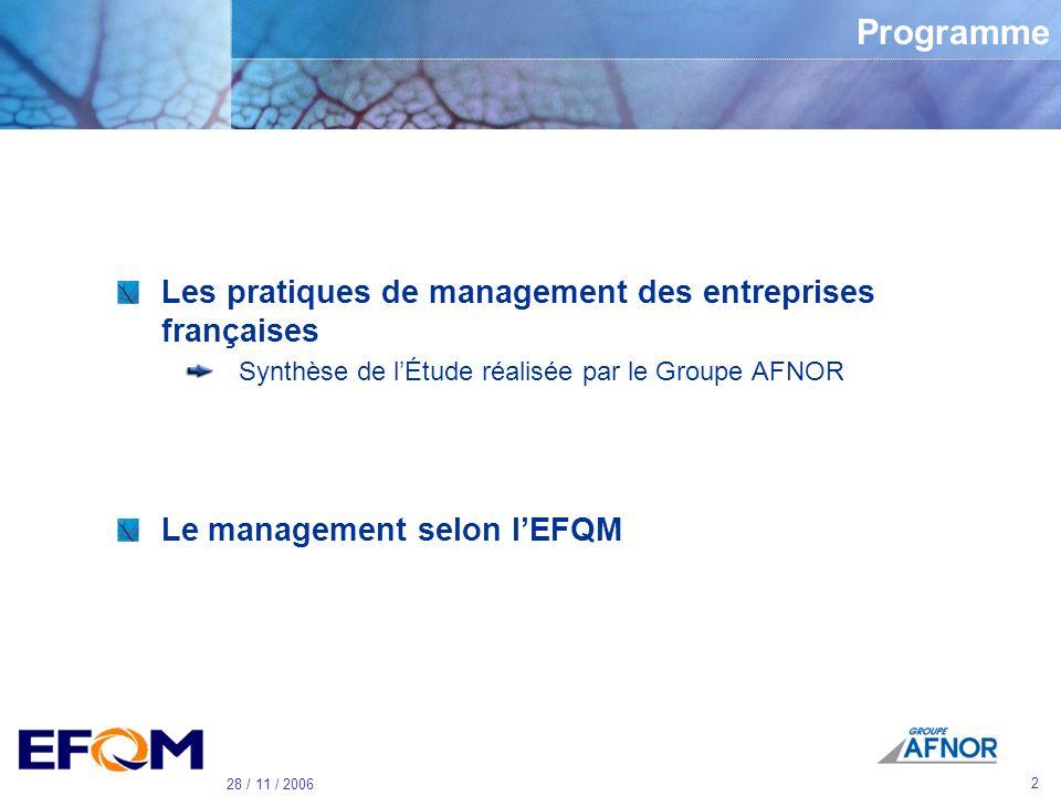 Programme Les pratiques de management des entreprises françaises