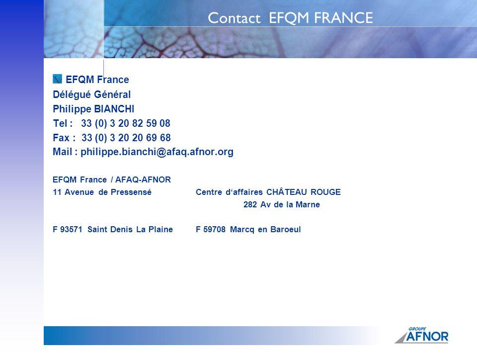 Contact EFQM FRANCE EFQM France Délégué Général Philippe BIANCHI