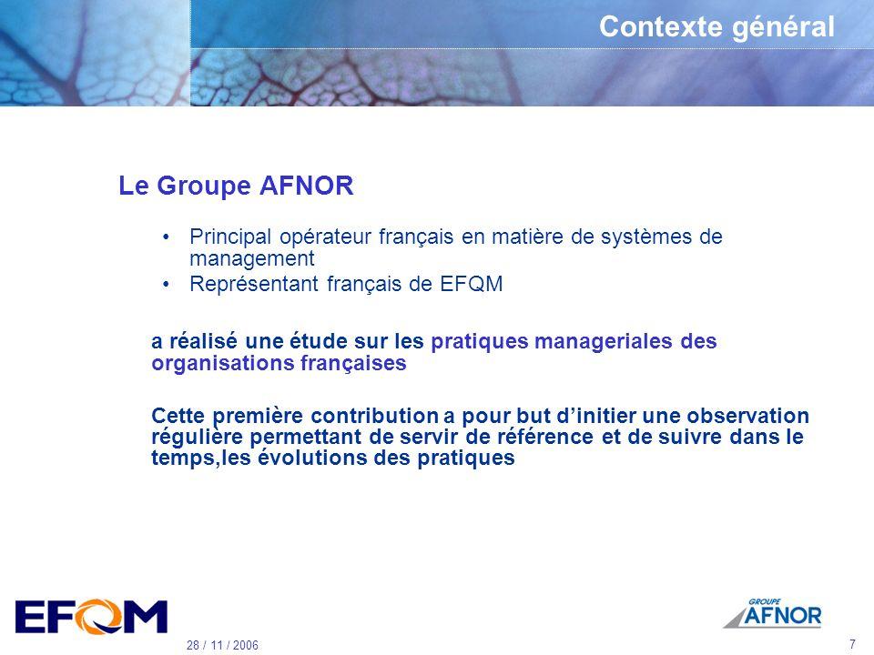 Contexte général Le Groupe AFNOR