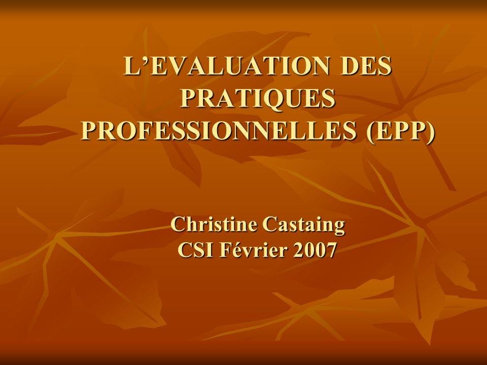 L'EVALUATION DES PRATIQUES PROFESSIONNELLES (EPP) Christine Castaing CSI Février 2007