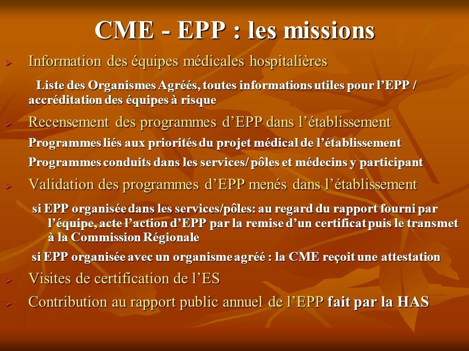 CME - EPP : les missions Information des équipes médicales hospitalières.