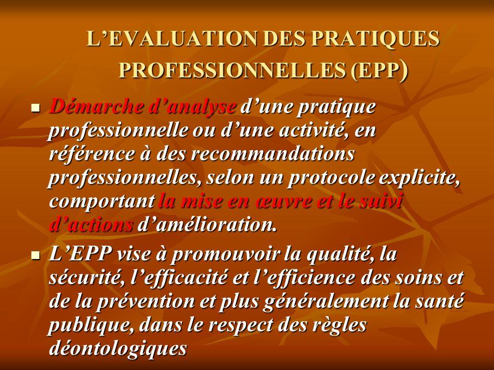 L'EVALUATION DES PRATIQUES PROFESSIONNELLES (EPP)