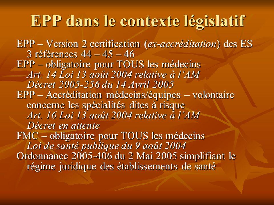 EPP dans le contexte législatif