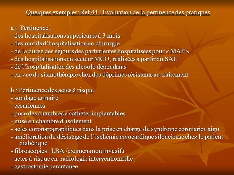 Quelques exemples: Réf 44 : Evaluation de la pertinence des pratiques