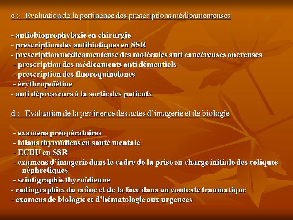 c : Evaluation de la pertinence des prescriptions médicamenteuses