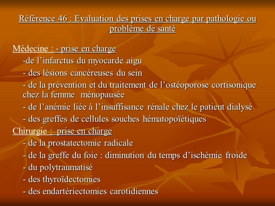 Référence 46 : Evaluation des prises en charge par pathologie ou problème de santé