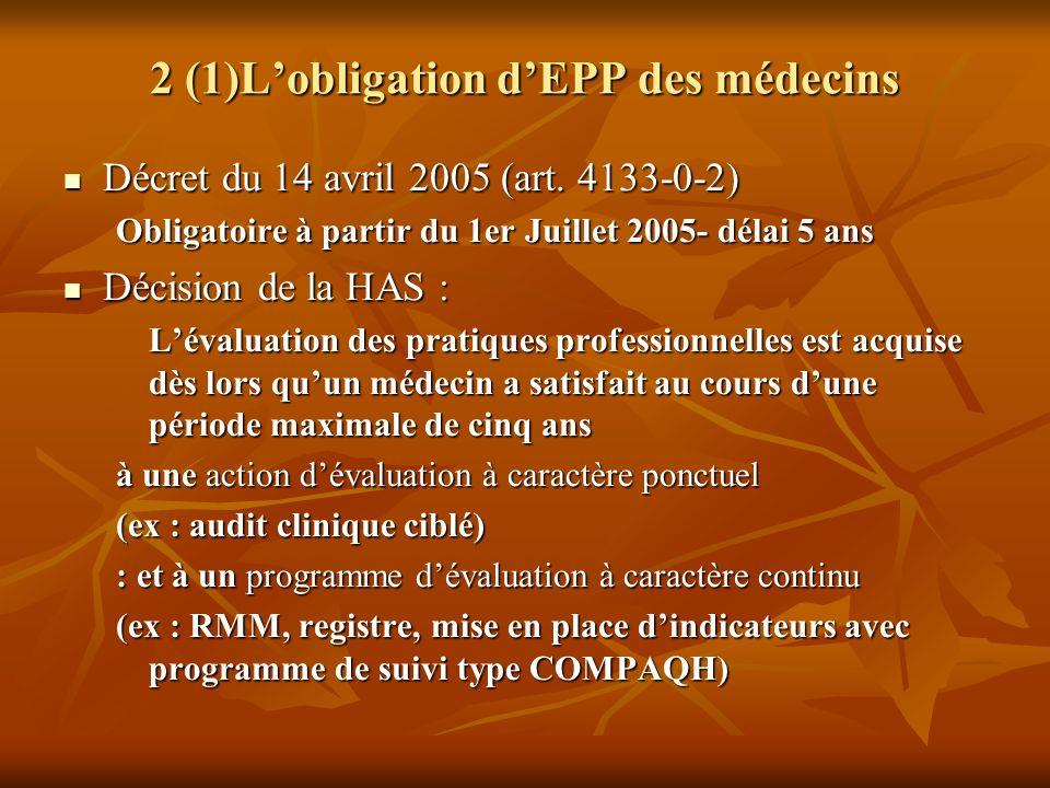 2 (1)L'obligation d'EPP des médecins