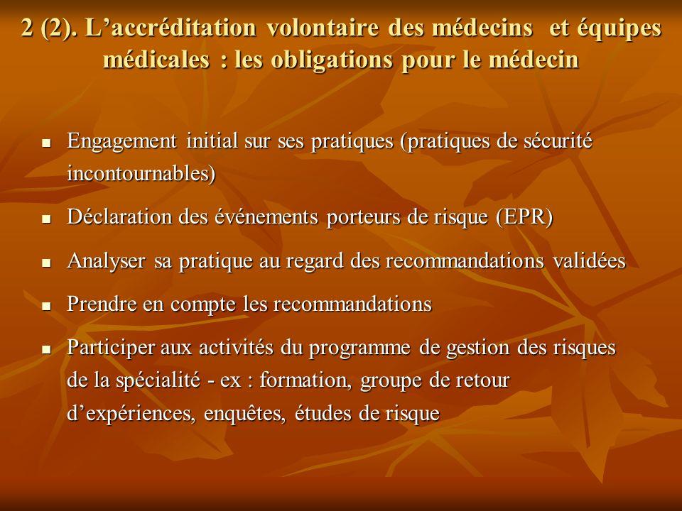2 (2). L'accréditation volontaire des médecins et équipes médicales : les obligations pour le médecin