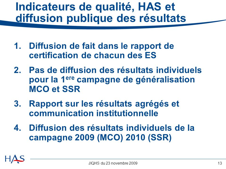 Indicateurs de qualité, HAS et diffusion publique des résultats