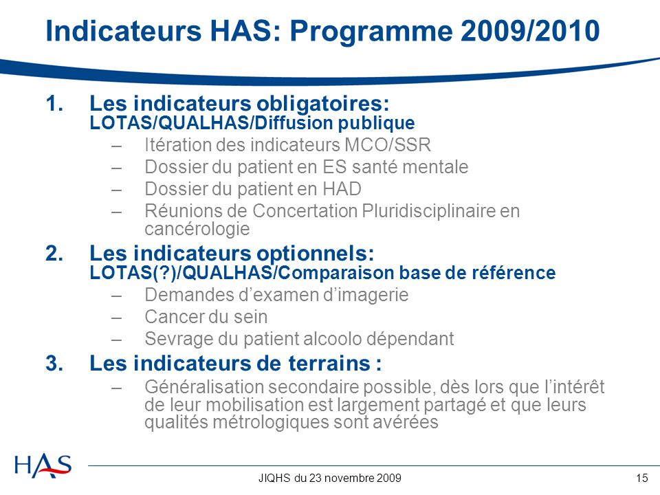 Indicateurs HAS: Programme 2009/2010