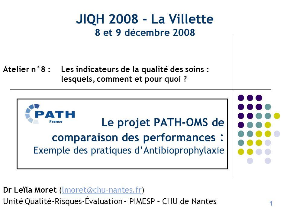 JIQH 2008 – La Villette 8 et 9 décembre 2008. Atelier n°8 : Les indicateurs de la qualité des soins : lesquels, comment et pour quoi