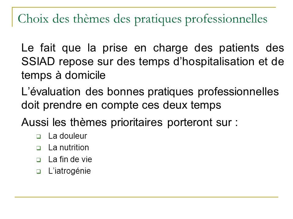 Choix des thèmes des pratiques professionnelles