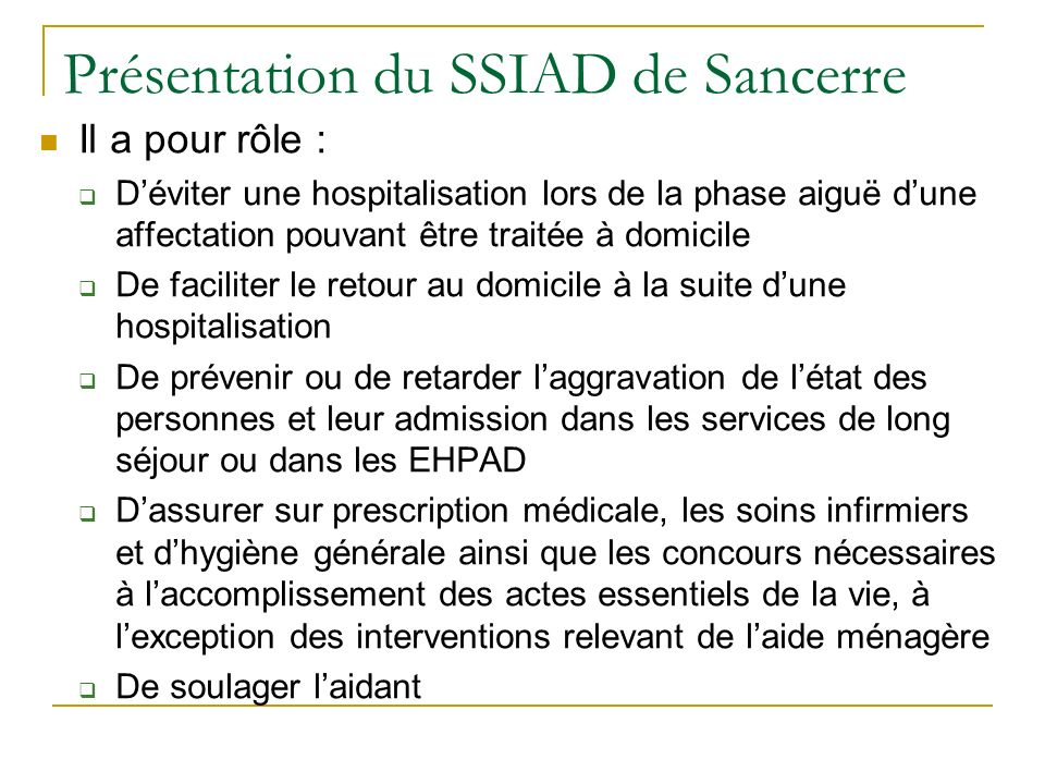 Présentation du SSIAD de Sancerre