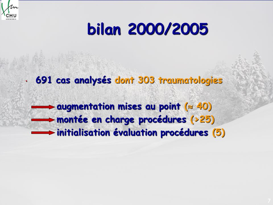 bilan 2000/2005 691 cas analysés dont 303 traumatologies