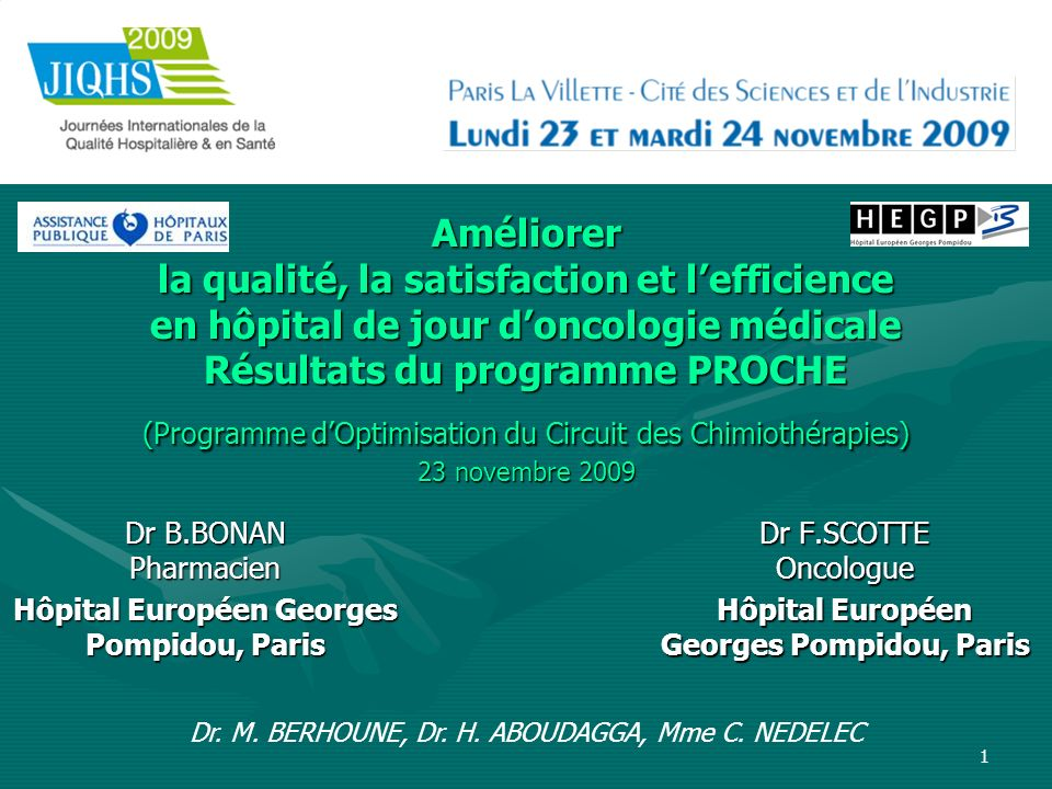 Dr F.SCOTTE Oncologue Hôpital Européen Georges Pompidou, Paris