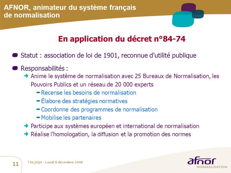 AFNOR, animateur du système français de normalisation