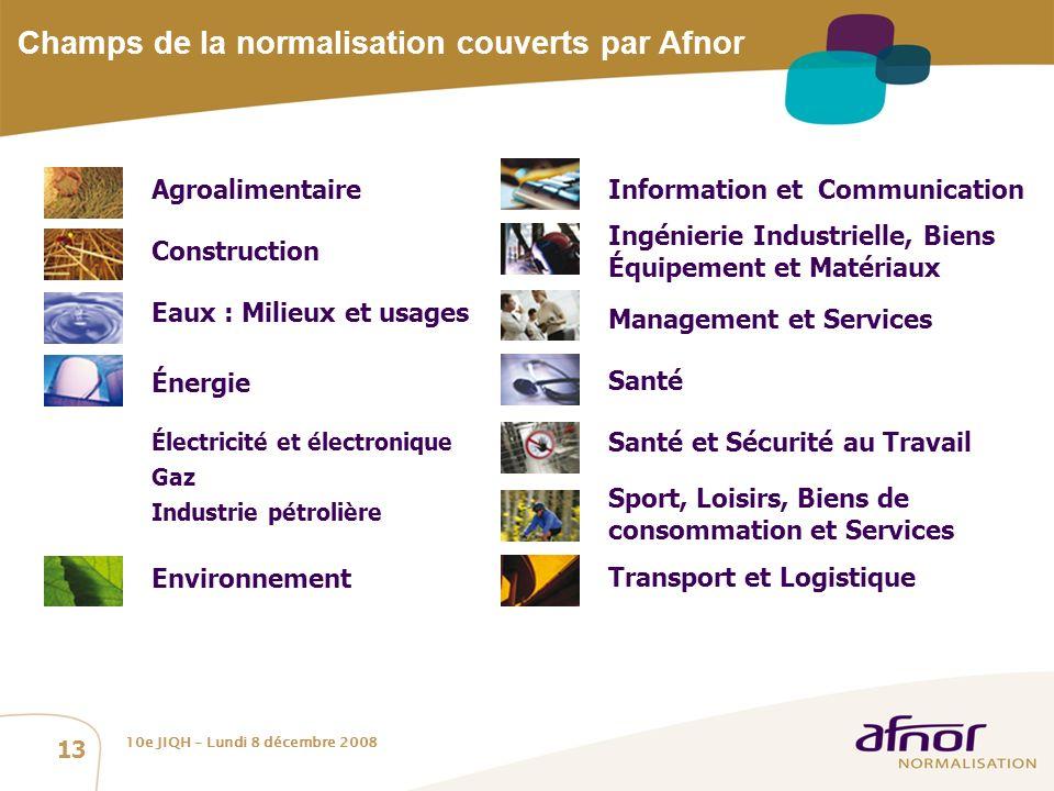 Champs de la normalisation couverts par Afnor