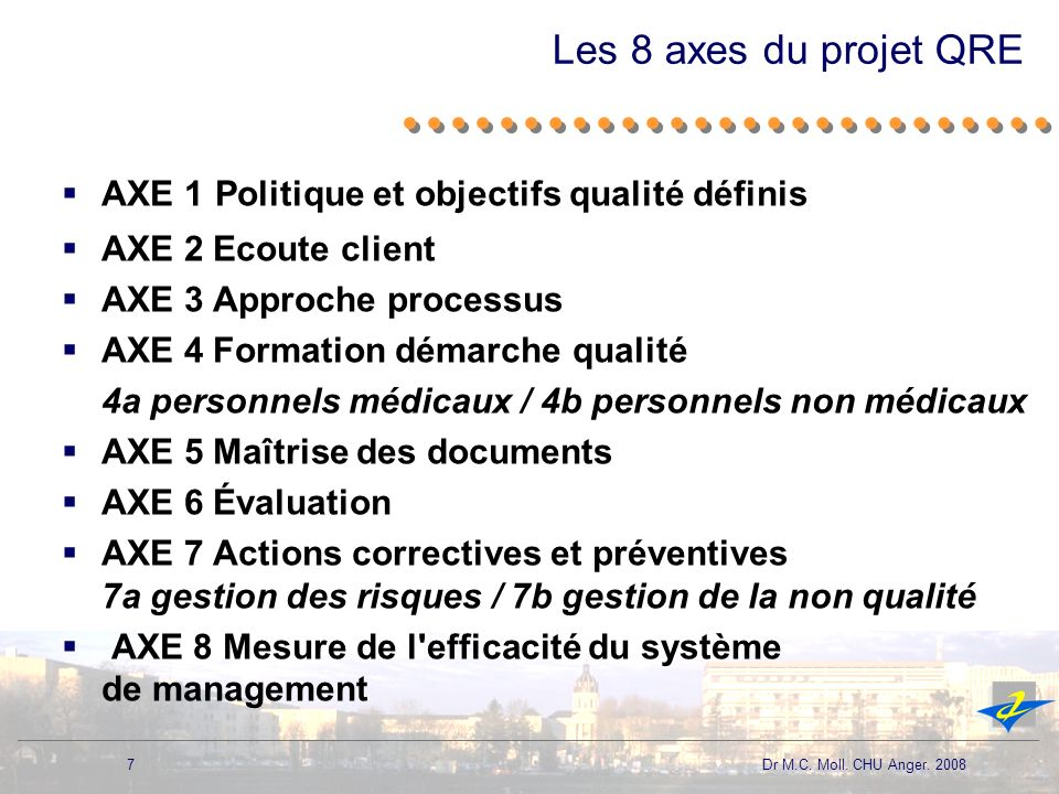 Les 8 axes du projet QRE AXE 1 Politique et objectifs qualité définis