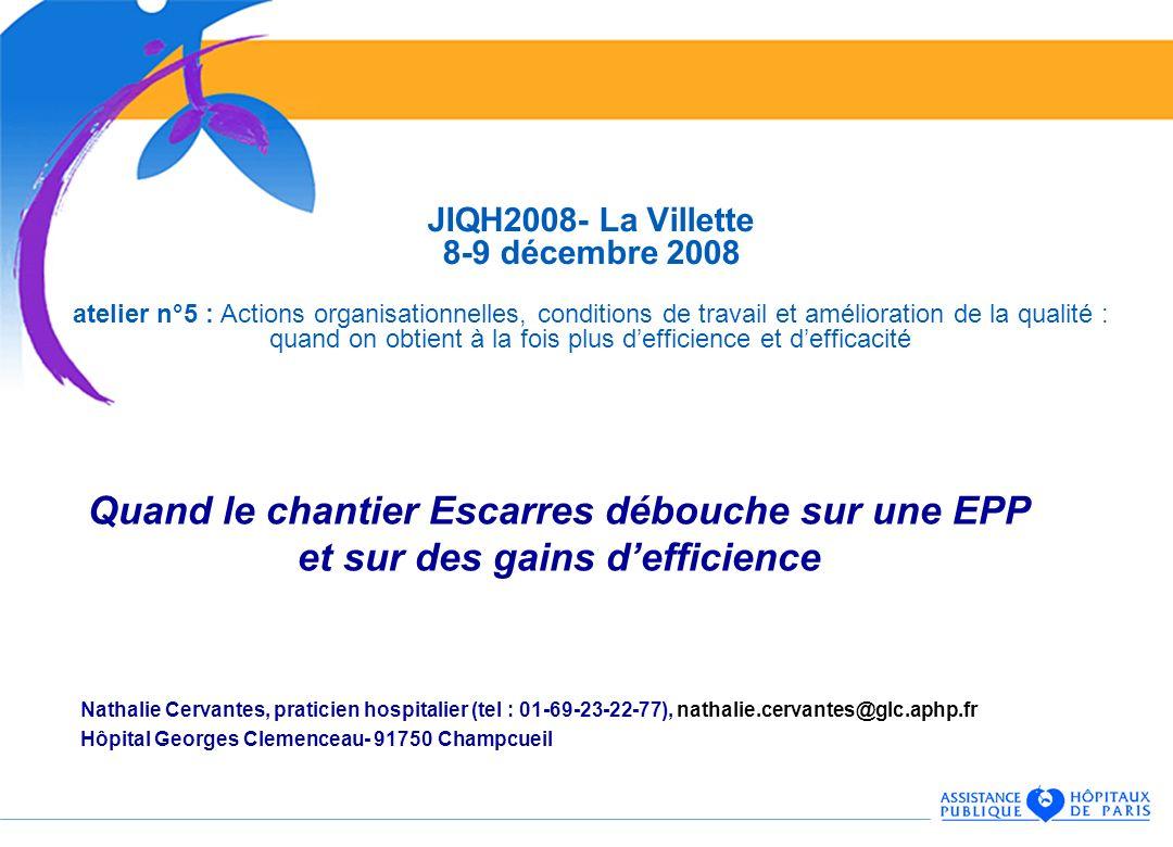 JIQH2008- La Villette 8-9 décembre 2008 atelier n°5 : Actions organisationnelles, conditions de travail et amélioration de la qualité : quand on obtient à la fois plus d'efficience et d'efficacité
