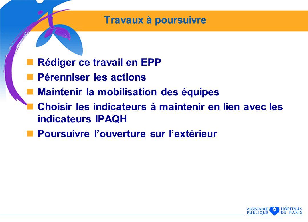 Travaux à poursuivre Rédiger ce travail en EPP. Pérenniser les actions. Maintenir la mobilisation des équipes.