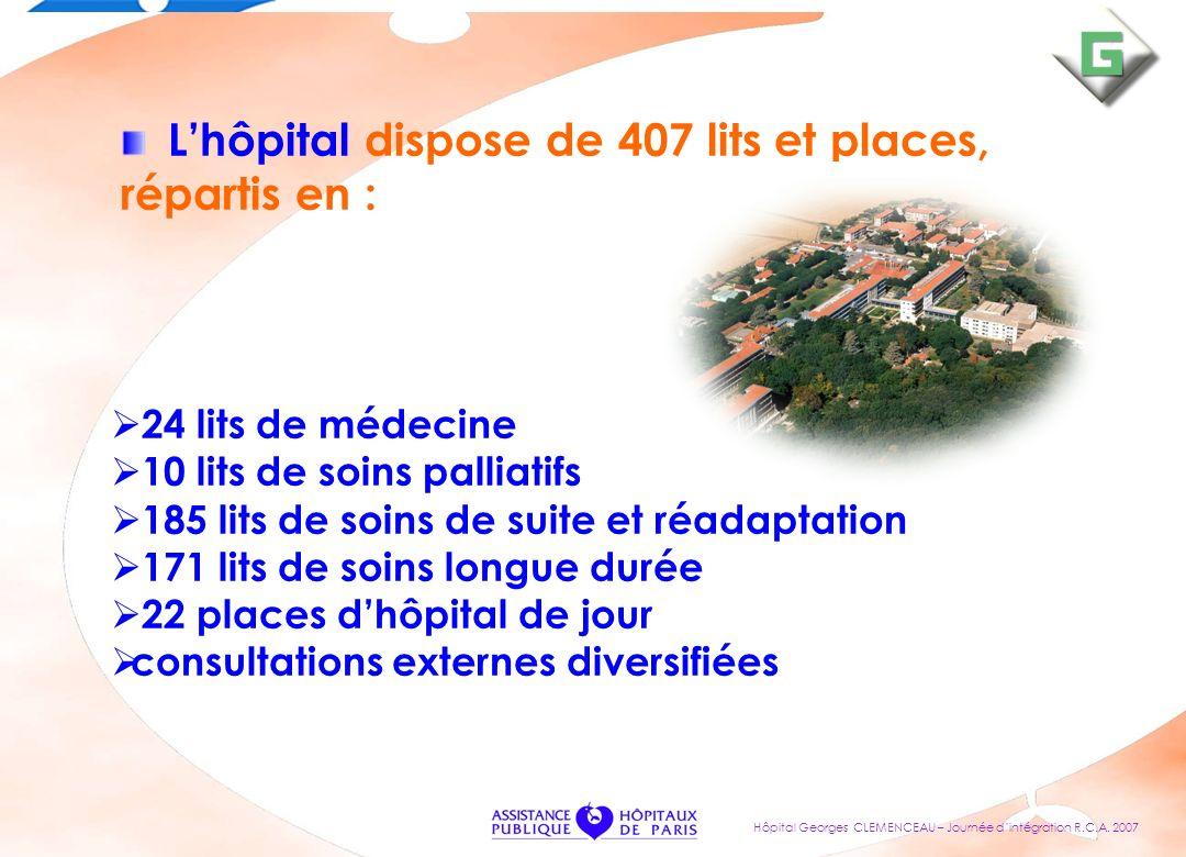 L'hôpital dispose de 407 lits et places, répartis en :