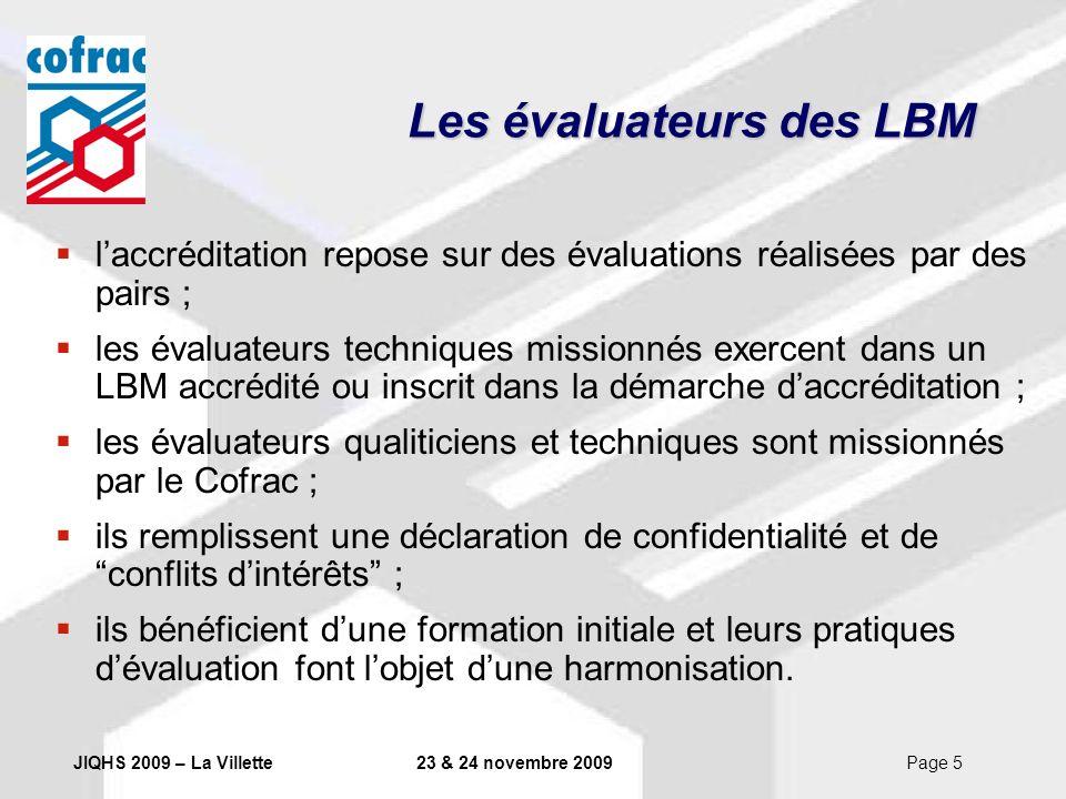 Les évaluateurs des LBM