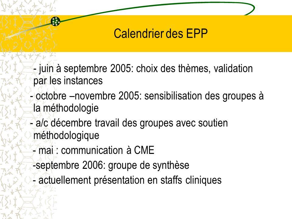 Calendrier des EPP - juin à septembre 2005: choix des thèmes, validation par les instances.