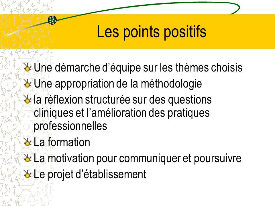 Les points positifs Une démarche d'équipe sur les thèmes choisis