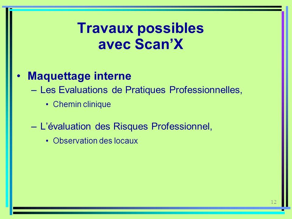 Travaux possibles avec Scan'X