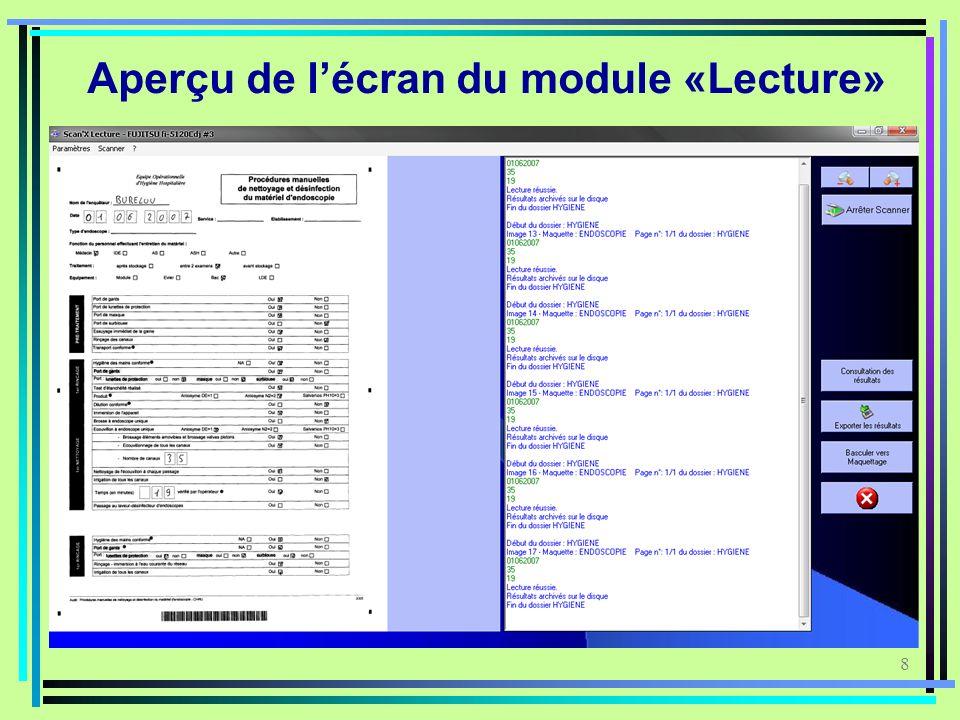 Aperçu de l'écran du module «Lecture»