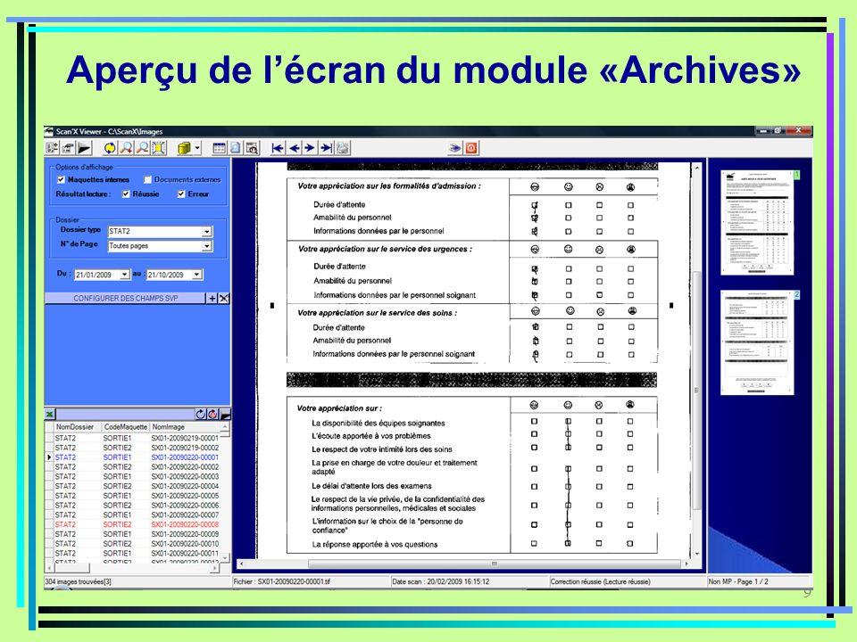 Aperçu de l'écran du module «Archives»