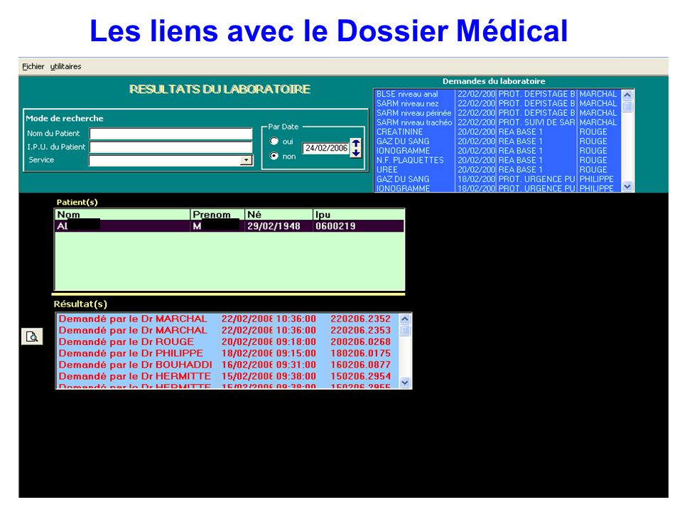 Les liens avec le Dossier Médical