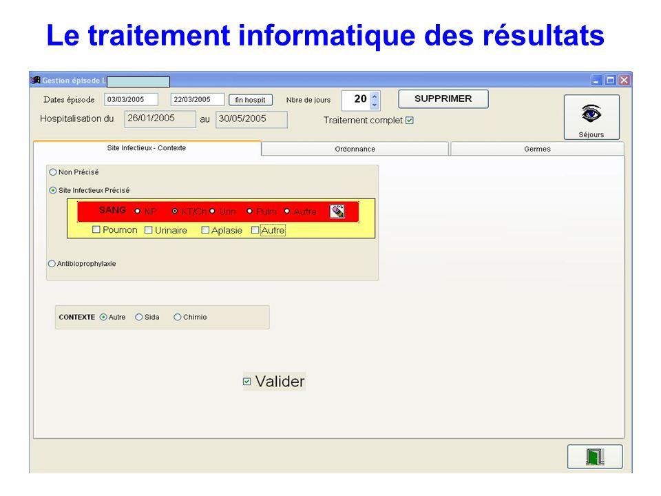 Le traitement informatique des résultats