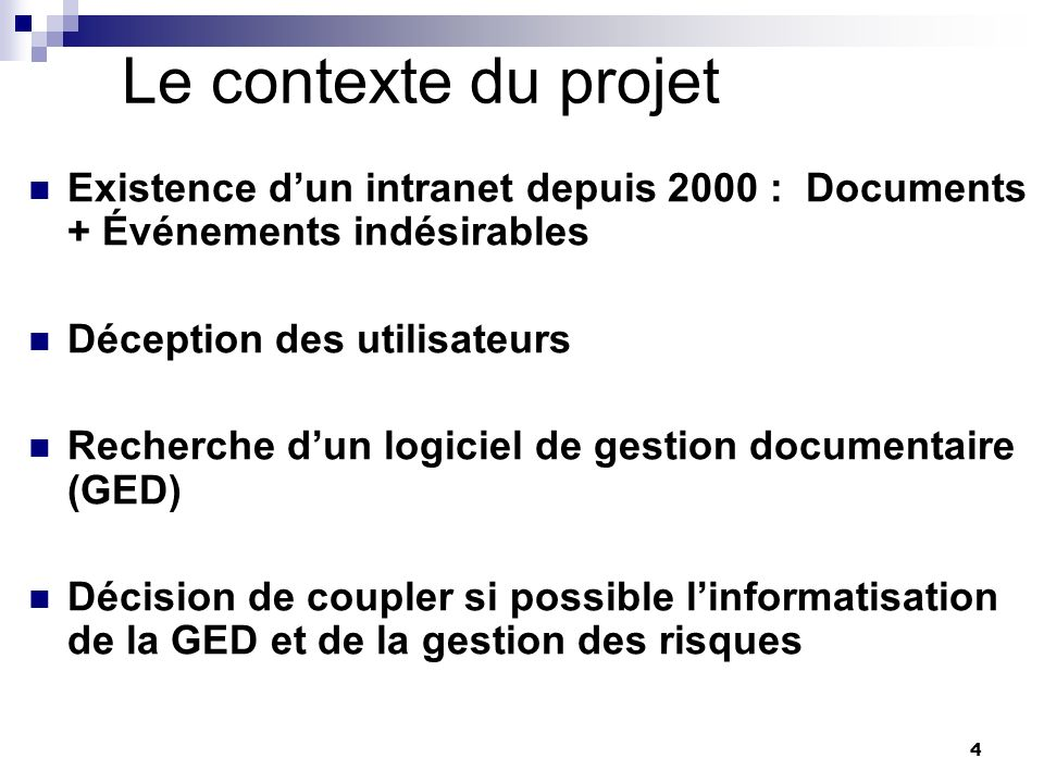 Le contexte du projet Existence d'un intranet depuis 2000 : Documents + Événements indésirables. Déception des utilisateurs.