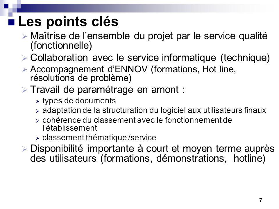 Les points clésMaîtrise de l'ensemble du projet par le service qualité (fonctionnelle) Collaboration avec le service informatique (technique)